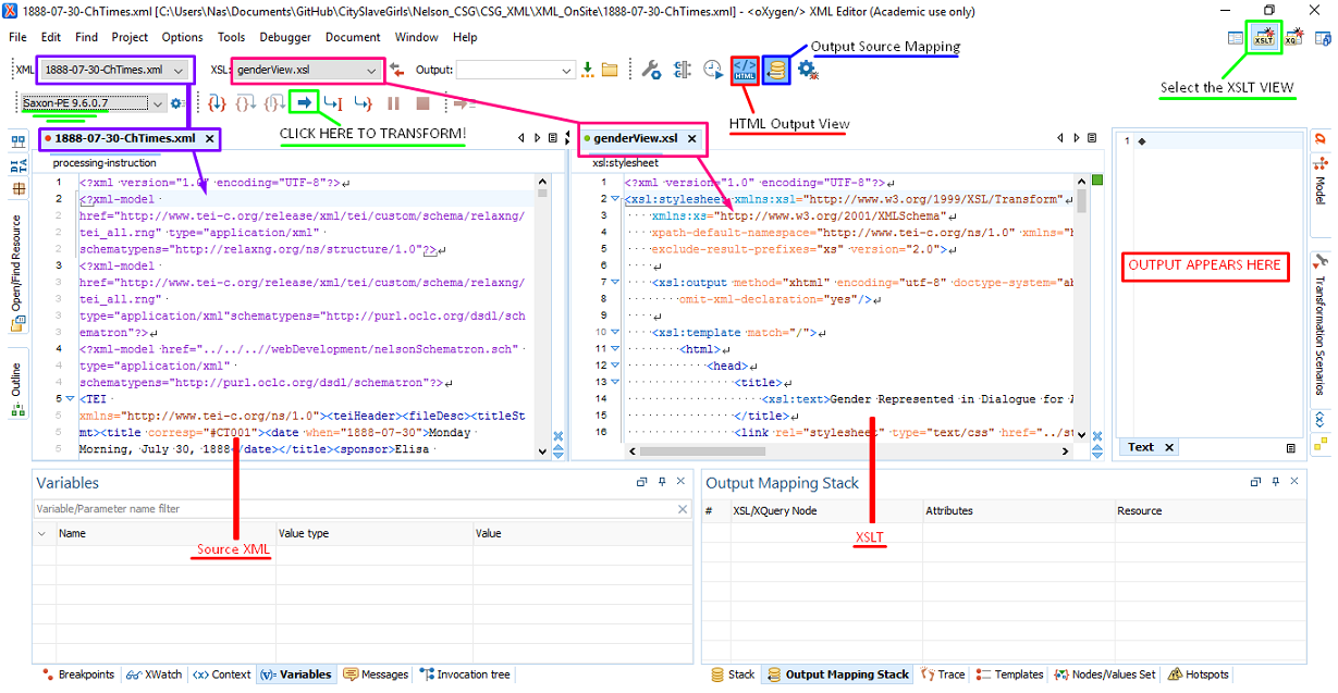 screen capture in oXygen of XSLT debugger