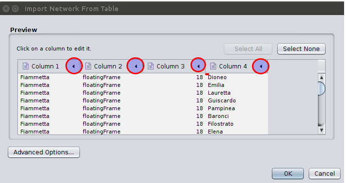 import screen in Cystocape 3.3.0 with highlights on where to click to edit each column import type